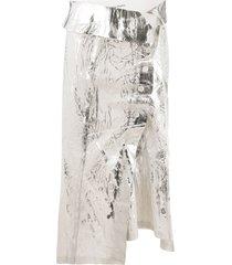 acne studios abstract print wrap skirt - white