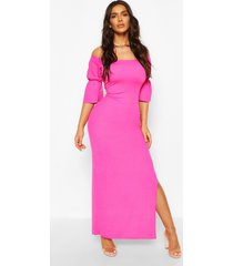 off shoulder frill cuff maxi dress, hot pink