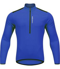 los hombres pro cycling jersey de manga larga de bicicleta mtb bike camiseta traje vestido azul