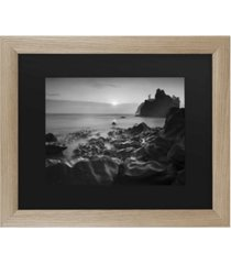 """moises levy sunset at ruby beach matted framed art - 37"""" x 49"""""""