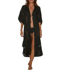 women's vix swimwear ladder trim cover-up caftan, size x-small - black