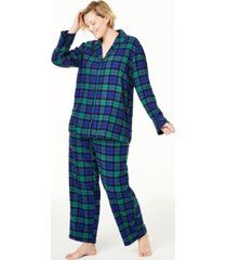 matching plus size black watch plaid family pajama set, created for macy's