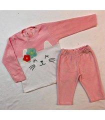 conjunto rosa con amor gatitu