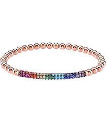 gabi rielle women's 22k rose gold vermeil & multicolor cubic zirconia stretch bracelet