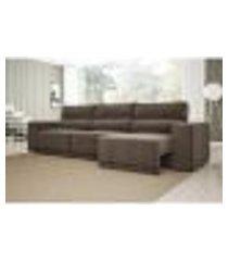 sofá 6 lugares net reale assento retrátil e reclinável suede marrom 2,84m (l)