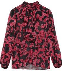 'jeannie' velvet neck tie floral prink silk blouse