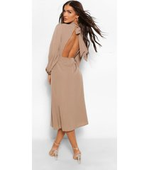 cut out back midaxi dress, camel