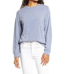 women's bobeau drop shoulder sweatshirt, size small - blue