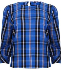 blusa cuello barco 3/4 a cuadros color azul, talla 10