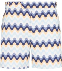 frescobol carioca copacabana wave pattern swim shorts - blue