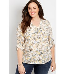 maurices plus size womens ditsy floral double button blouse white