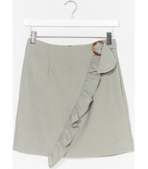 womens ruffle front buckle detail mini skirt - sage