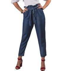 pantalón adrissa bolsa de papel con anudado en tencel azul indigo