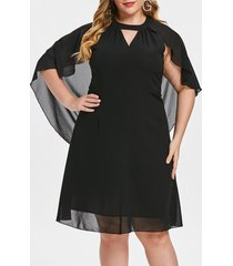plus size solid color cut out batwing sleeve dress