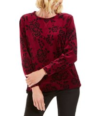 karen scott petite floral-print velour sweatshirt, created for macy's