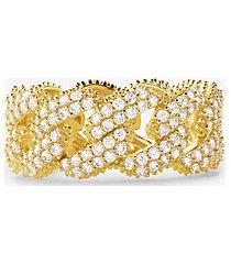 mk anello con maglie a catena in argento sterling con placcatura in metallo prezioso e pavé - oro (oro) - michael kors