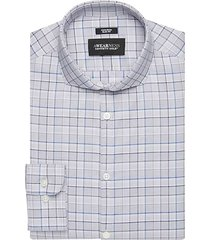 awearness kenneth cole men's blue check slim fit dress shirt - size: 18 1/2 34/35