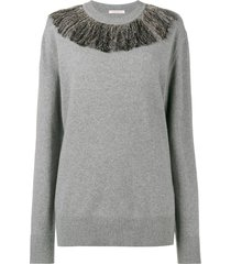 christopher kane metallic fringe sweater - grey