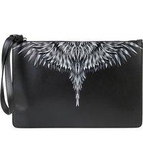 marcelo burlon men's sharp wings leather wristlet pouch - black white