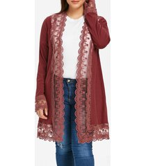 ribbed lace trim plus size open cardigan