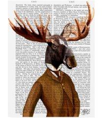 "fab funky moose in suit, portrait orange canvas art - 27"" x 33.5"""