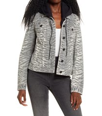 women's blanknyc tiger print denim jacket with removable hood, size x-small - blue