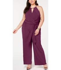 1.state trendy plus size halter-neck faux-wrap jumpsuit
