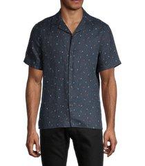 saks fifth avenue men's printed linen shirt - navy blazer - size s