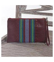 leather and cotton wristlet, 'casual ikat in brick' (indonesia)