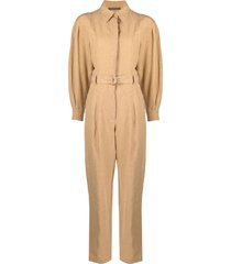 alberta ferretti belted-waist jumpsuit - neutrals