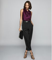 reiss laura - bow detail satin top in berry, womens, size 12