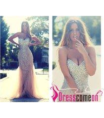 champagne prom dress,mermaid prom dress,evening dress,formal dress,luxury dress