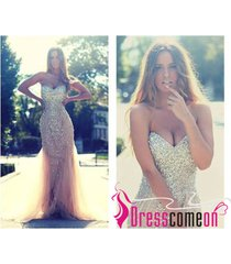 champagne prom dress,mermaid prom dress,evening dress,formal dress,luxury dress