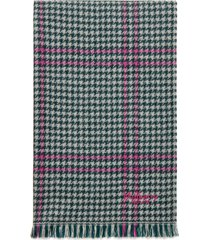 women's mulberry check & houndstooth wool scarf, size one size - ivory
