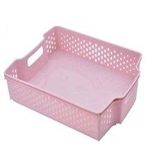 cesta empilhável baixa - 5,6l - 36,5cmx10cm? - container pink
