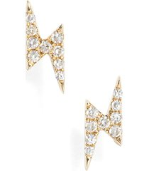 ef collection diamond lightening bolt stud earrings in yellow gold at nordstrom