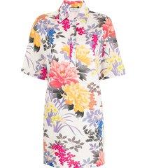 etro floral print henley shirt dress - multicolour
