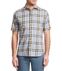 collection cotton & linen plaid shirt