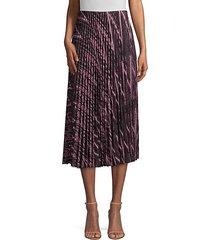 zigzag lurex knit pleated midi skirt