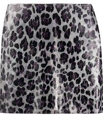 art school laminated leopard print mini skirt - grey