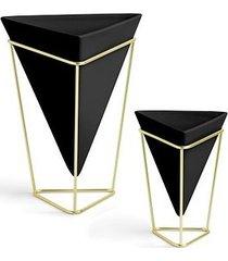 pojemnik wazon 2 szt. triangle czarny
