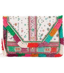 multicolored cotton clutch