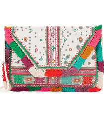 multicolored cotton clutch