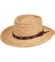 san diego hat men's raffia gambler with faux leather band