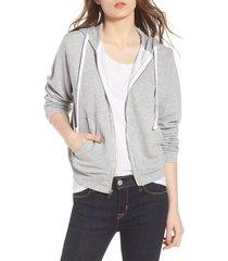 women's wildfox bridesmaid regan zip hoodie, size small - grey