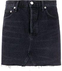 agolde quinn high-rise mini denim skirt - black