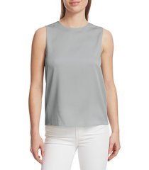 theory women's silk shell top - grey - size xl