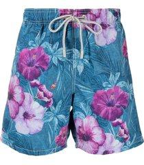mc2 saint barth hibiscus-print swim shorts - blue