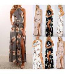 2017 new summer backless dress women print dresses long dress beach maxi dress p