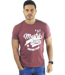 camiseta hombre manga corta slim fit vinotinto marfil racing